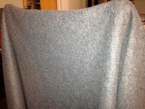 The gray blanket I regularly wore at work.